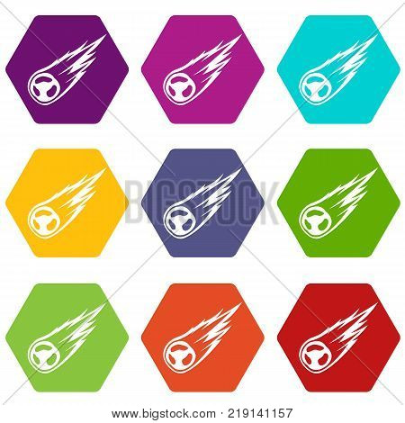 Falling meteor with long tail icon set many color hexahedron isolated on white vector illustration