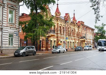 Irkutsk Russia - August 14 2017: Building of Trade House of Makhooshin and Posokhin. The building was built in 1903