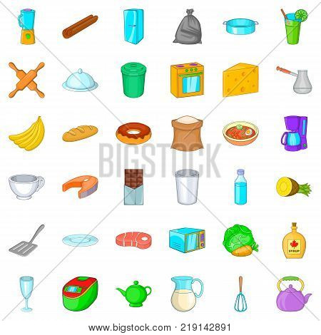 Kitchen mitten icons set. Cartoon style of 36 kitchen mitten vector icons for web isolated on white background