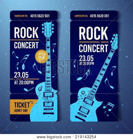 vector illustration blue rock concert festival ticket design template with guitar and grunge effects