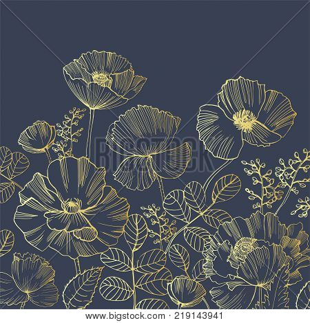 Elegant natural square backdrop with poppy flowers growing from bottom edge hand drawn with golden contour lines on black background. Beautiful floral decoration. Botanical vector illustration