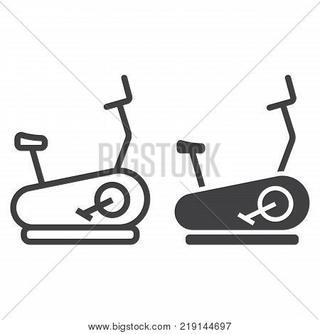 Stationary bicycle line and glyph icon, fitness and sport, Exercise Bike sign vector graphics, a linear pattern on a white background, eps 10.