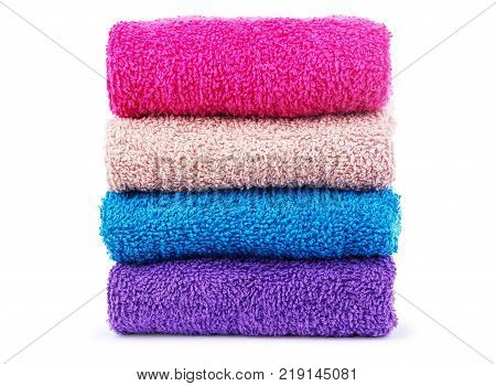 Colorful towels. Isolated on white background shot, Multi, colored, Group, objects, Tourist, resort,