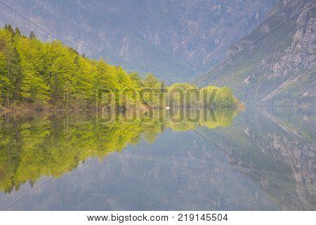 Lake Bohinj, Beautiful Alpine Lake In The Julian Alps
