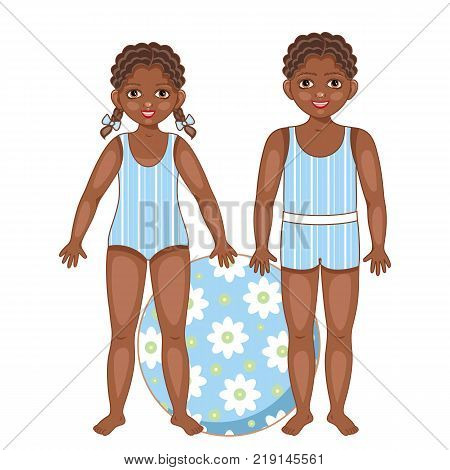 Two black, African American kids, children, boy and girl in summer swimsuits with big inflatable ball, cartoon vector illustration on white background. Black, African American kids in summer swimsuits