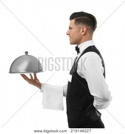 Waiter with metal tray and cloche on white background