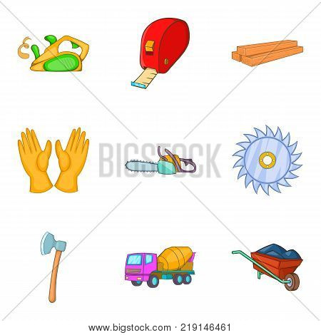 Build the town icons set. Cartoon set of 9 build the town vector icons for web isolated on white background