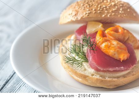 Sandwich With Tuna, Crab Claw And Mozzarella