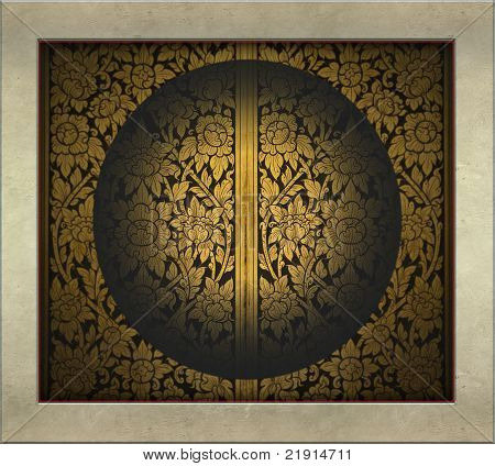 Thai art glod and black design in four-sided frame and circle