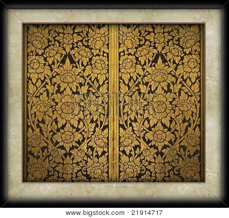 Thai art gold black color in the square