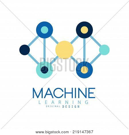 Geometric machine learning logo. Data mining. Computer industry. Flat vector illustration isolated on white background. Colored design element for business card, technical company poster or label.