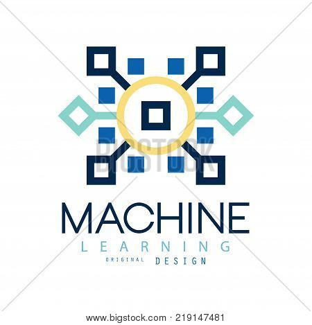 Colored geometric logo of machine learning. Artificial intelligence icon. Computer science. Design for website, business card or company label. Vector illustration in flat style isolated on white.