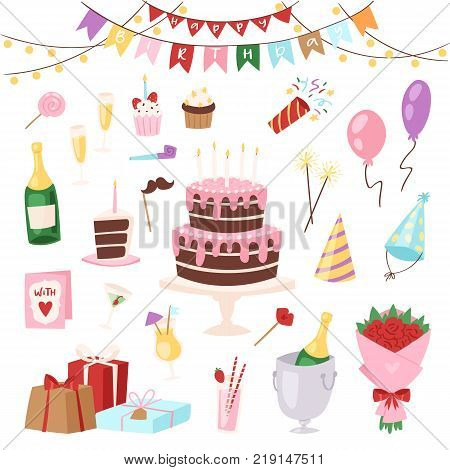 Birthday kids party vector cartoon childs happy birth cake or cupcake celebration with gifts and happy birthday balloons for children on anniversary holiday set illustration isolated on background.