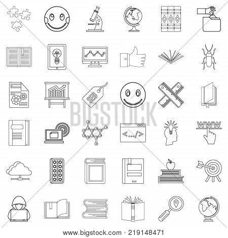 Knowledge icons set. Outline style of 36 knowledge vector icons for web isolated on white background