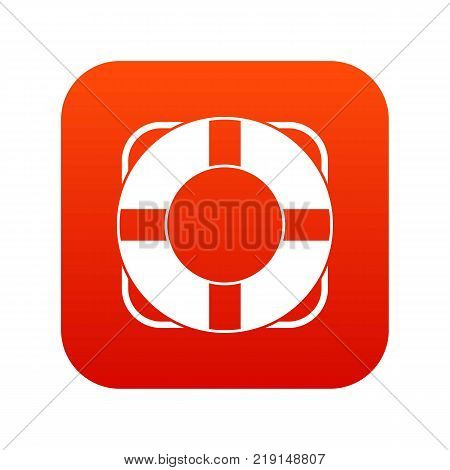 Lifeline icon digital red for any design isolated on white vector illustration