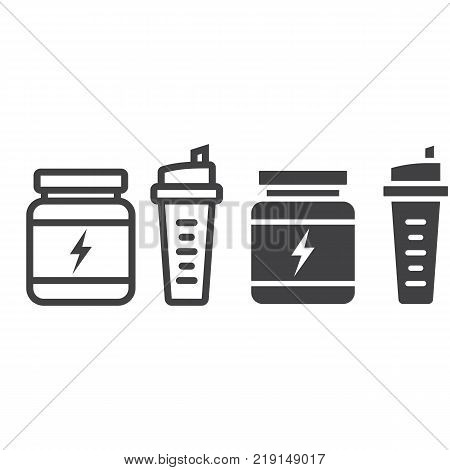 Whey protein with sports shaker line and glyph icon, fitness and sport, nutrition sign vector graphics, a linear pattern on a white background, eps 10.
