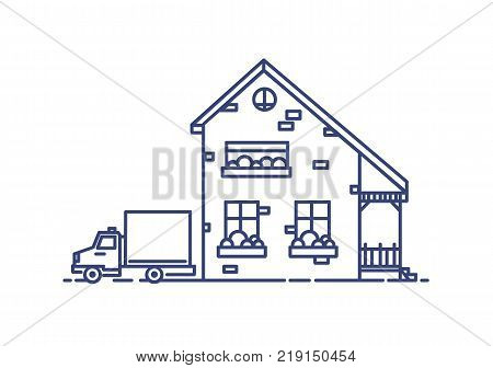 Two-storey suburban house with porch built with bricks and lorry parked beside it. Residential building drawn with blue lines on white background. Monochrome vector illustration in lineart style