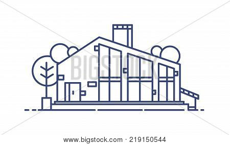Suburban house with large panoramic windows surrounded by trees. Stylish modern living building drawn with blue lines and isolated on white background. Monochrome vector illustration in lineart style