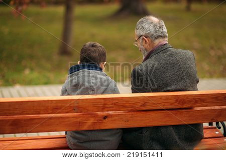 Grandpa and his grandson spend time together in the park. They are sitting on the bench. Walking in the park and rejoicing.