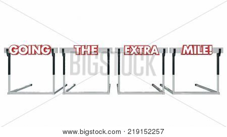Going the Extra Mile Hurdles Further Jumping More Distance 3d Illustration