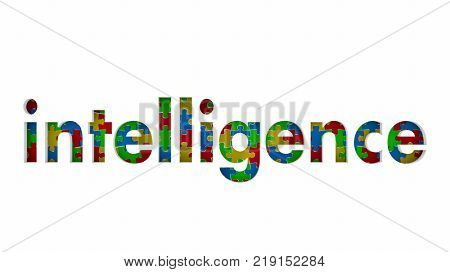 Intelligence Smarts Knowledge Information Puzzle Pieces 3d Illustration