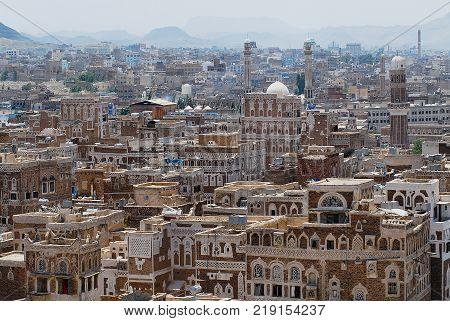 SANAA, YEMEN - SEPTEMBER 09, 2006: View of the Sanaa city in Sanaa, Yemen. The old city of Sanaa is declared a UNESCO World heritage site.