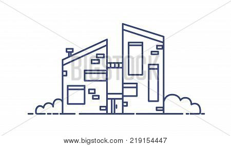 Brick house built using ecological materials. Modern city building drawn with blue contour lines on white background. Contemporary sustainable architecture. Vector illustration in lineart style