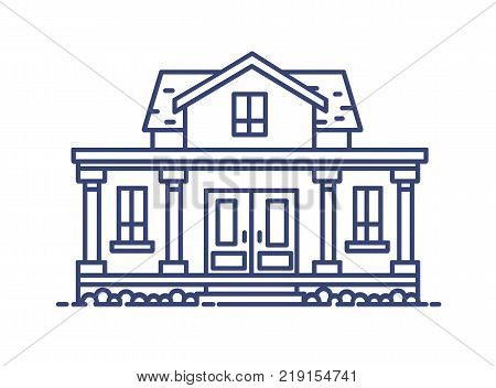 Two-story residential house with porch and columns built in classic architectural style. Elegant building drawn with blue contour lines on white background. Vector illustration in lineart style