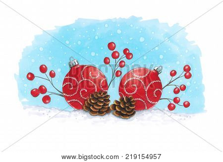 Sketch markers Christmas decoration with fir cones. Sketch done in alcohol markers. You can use for greeting cards posters and design projects.