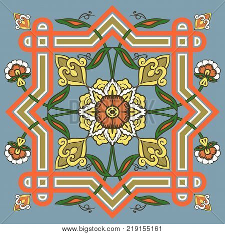 Kaleidoscopic symmetry in abstract florid designs typical of Uzbekistan and Afghanistan, with Iranian and Islamic influences.