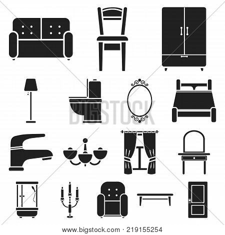 Furniture and interior black icons in set collection for design.Home furniture vector symbol stock  illustration.