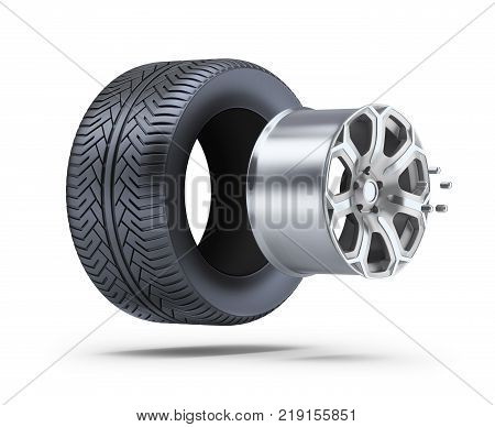 Car wheel parts. 3d image. White background.
