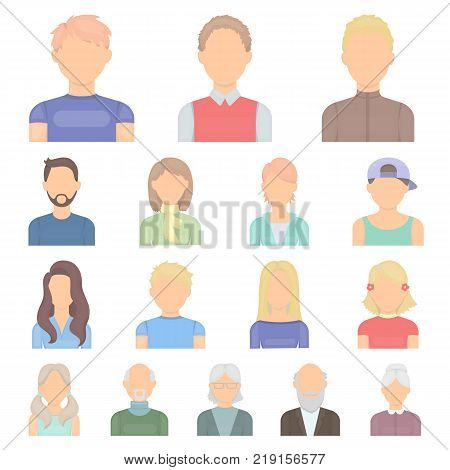 Avatar and face cartoon icons in set collection for design. A person's appearance vector symbol stock illustration.