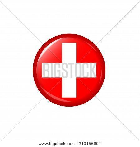 Red Medical cross logo. Red ambulance emergency symbol