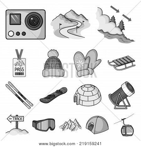 Ski resort and equipment monochrome icons in set collection for design. Entertainment and recreation vector symbol stock  illustration.