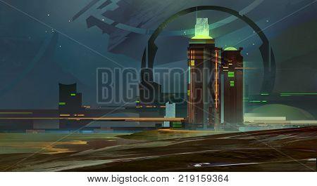 colored sketch night a fantastic city skyline