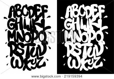 Black and white hip hop alphabet, font vector
