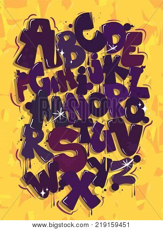 Purple hip hop font on a yellow background