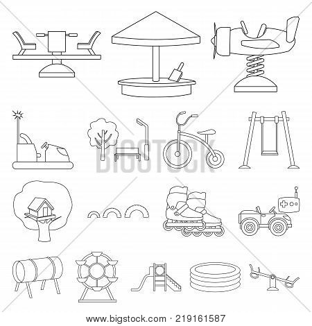 Playground, entertainment outline icons in set collection for design. Attraction and equipment vector symbol stock  illustration.