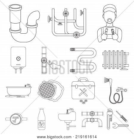 Plumbing, fitting outline icons in set collection for design. Equipment and tools vector symbol stock  illustration.