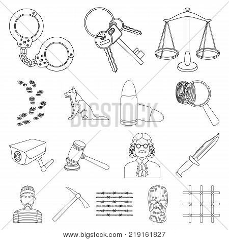 Prison and the criminaloutline icons in set collection for design.Prison and Attributes vector symbol stock  illustration.