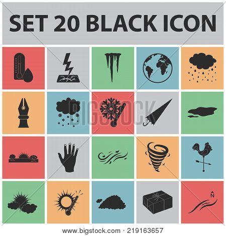 Different weather black icons in set collection for design.Signs and characteristics of the weather vector symbol stock  illustration.
