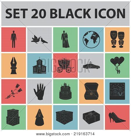 Wedding and Attributes black icons in set collection for design. Newlyweds and Accessories vector symbol stock  illustration.