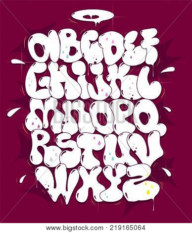 Hip hop bubble whiite vector font. Typography for poster,t-shirt or stickers.