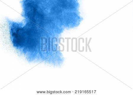 The Explosion Of Multi Colored Powder. Beautiful Powder Fly Away. The Cloud Of Glowing Color Powder