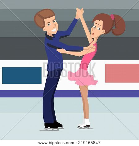 pair of young figure skaters preparing to perform - vector cartoon illustration in flat style
