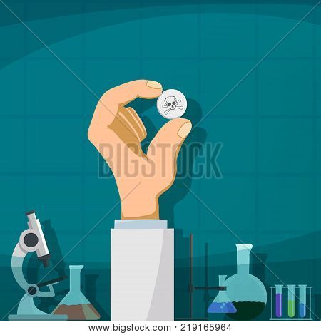 Human hand holding the pill with a skull and crossbones. Production of drugs. Stock vector illustration.