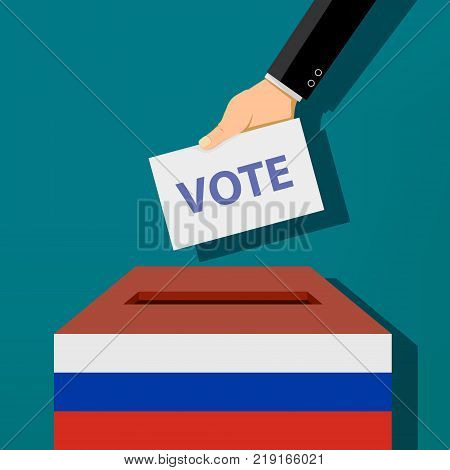 Human hand casts a vote into the ballot box. Presidential elections in Russia. Stock vector illustration.
