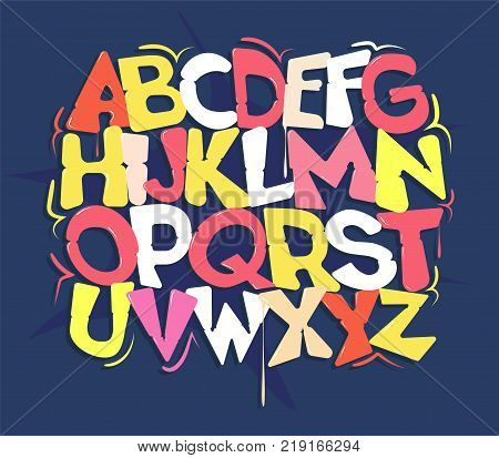Milticolored hip hop font on a blue background
