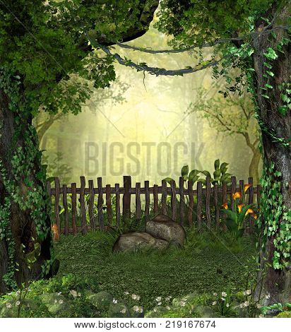3D rendering of a enchanting fairy garden in a forest with flowers